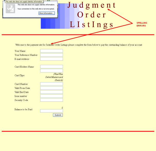 Judgement Order Listing Web Site
