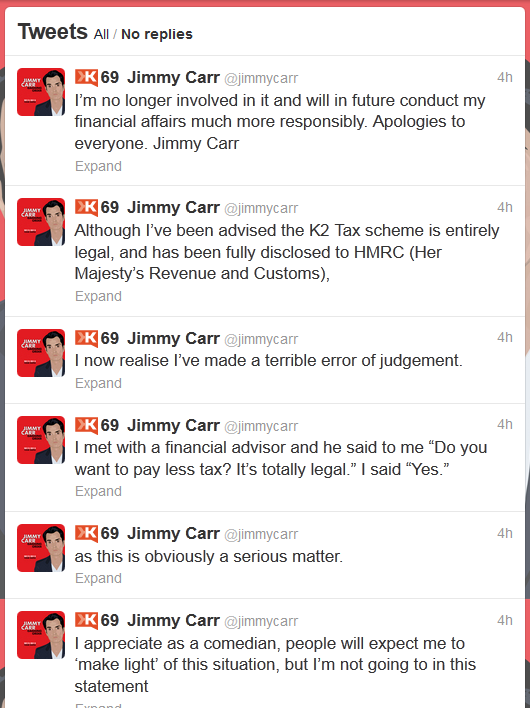Jimmy Carr Twitter Apology