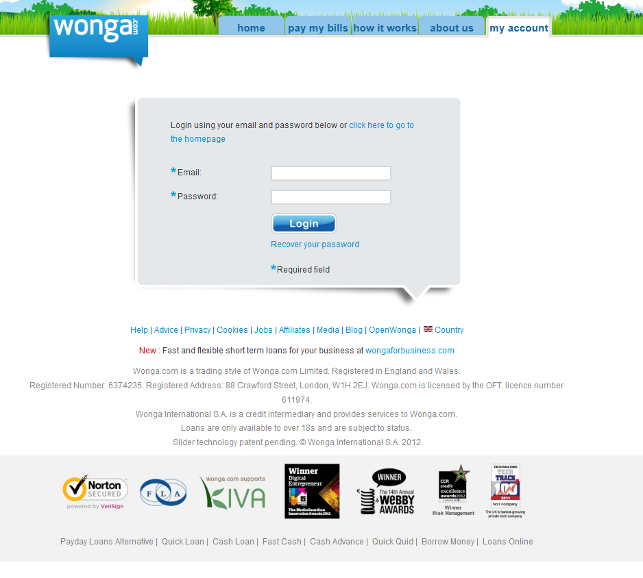 Wonga Log On Scam
