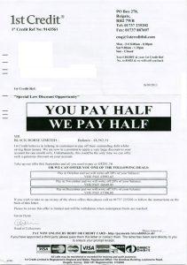 1st Credit Settlement Letter