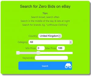 Search for zero bids on eBay