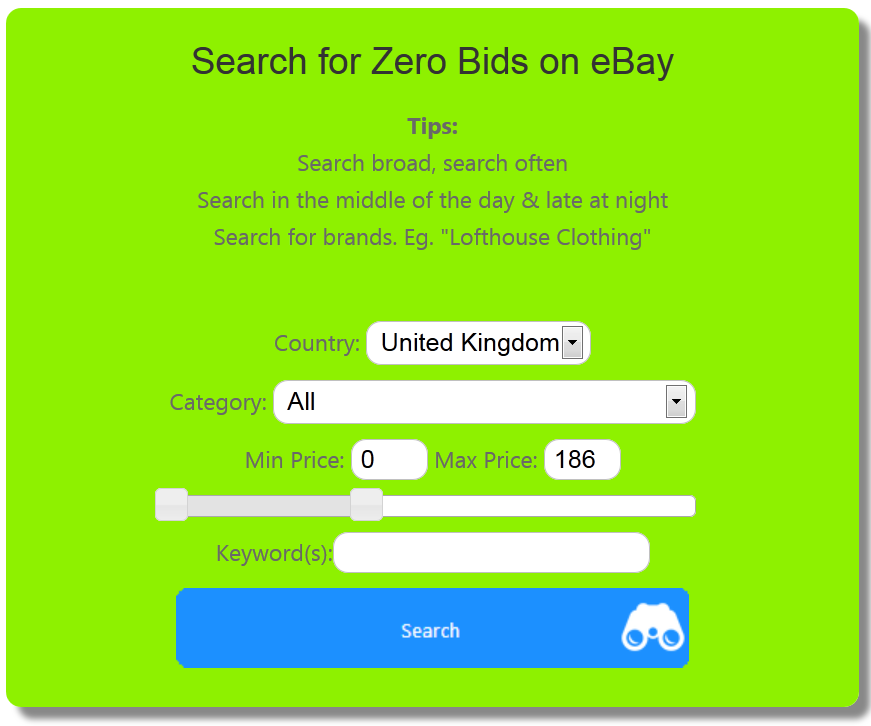 Ebay Co Uk Search: Search For Zero Bids On EBay